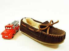 MINNETONKA MOCCASIN KIDS CHOC. BROWN SUEDE FUR LINED MOC Youth Size 10
