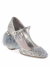 MIU MIU PRADA SEXY PEARL FEATHER GLITTER MARY JANE EU 38.5 39 WEDDING LOVE SHOES