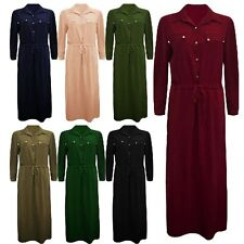 Womens Ladies Long Sleeve Tie Knot Coller Buttons Maxi Dress UK 8-14