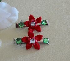 Red Fabric  Petal Flower Hair Claws with Green Rhinestones