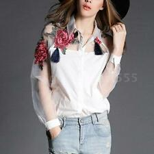 Sexy Women's Tops Blouse Mesh Embroidery Flower Splicing Long Sleeve Shirt Z1V9