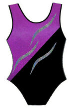 PURPLE/PINK BLACK & SILVER LEOTARD - GIRLS SIZES 2 to 16 - GYMNASTICS DANCE GYM