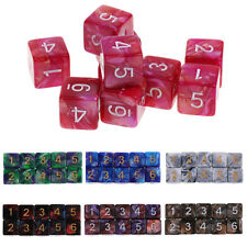 10PCS 6 Sided Dice D6 Polyhedral Dice for Dungeons and Dragons  MTG RPG