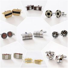 Sterling Silver Cufflinks Set Round Silver Gift Square Shirt Wedding Vintage