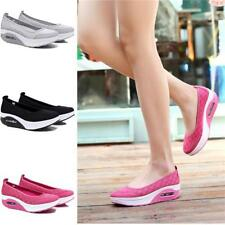 Women's Slip On Shape Ups Toning Fitness Walking Shoes Sneaker Wedge Platform BS