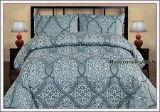 280TC Jacquard Weave Grey Blue Silver KING QUEEN DOUBLE QUILT DOONA COVER SET