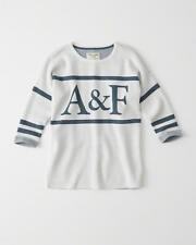Abercrombie & Fitch Womens Sweater Logo Graphic Pullover XS S or M White NWT