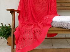 Red Cotton Lace Blanket Organic Afghan Throw Blanket Wrap Knitted Chair Cover