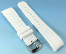22mm or 24mm WHITE Silicone Rubber Band WATCH Strap with CURVED Ends