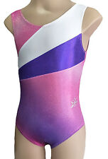 OMBRE PINK PURPLE & WHITE LEOTARD - GIRLS SIZES 2 to 16 - GYMNASTICS DANCE GYM