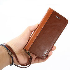 For Apple iPhone 6/6s Plus Genuine Leather Flip Wallet Case Card Magnetic Cover