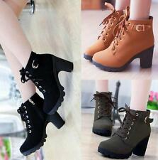 New Womens High Heel Booties Platform Ankle Lace Up Boots Fashion Boots Shoes
