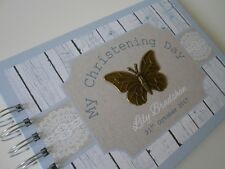 Personalised CHRISTENING GUEST BOOK Photo Album Burlap Lace BUTTERFLY Baby Album