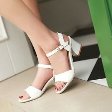 New Womens Chunky Block heel Sandals pumps Ankle Straps peep toe Court Shoes US