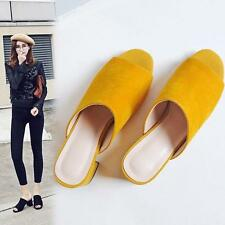 Womens Open Toe Mules Suede Mid Block Heels Velvet Sandals Shoes Slippers Size