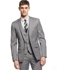 Gray Men Suits Groom Easy-Iron Wedding Tuxedos 2 Button Jacket+Pants+Vest Custom