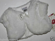 Sweet Heart Rose NWT Girl's 12 Mo. Faux Fur Ivory Vest Coat w/ Satin Bow