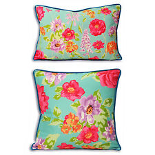 Contemporary Floral Cushion Cover - Aqua Teal Blue Sofa Bed Scatter Cushion