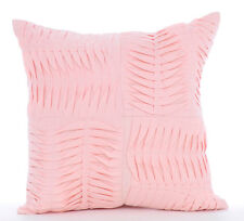 Pink Cotton Linen 50x50 cm Textured Pintucks Cushion Cases - Pinch Of Love