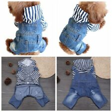 Pet Dog Cat Stripe Hooded Jeans Jacket Jumpsuit Clothes Costume Coat Apparel