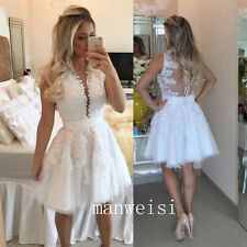 White Short Homecoming Dress Prom Evening Cocktail Graduation Party Bead Gown