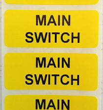 Electrical Safety Warning Labels - MAIN SWITCH Labels - Yellow 50mm x 20mm