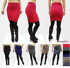 NEW Sexy Basic Bodycon Highwaist Stretch Wiggle Mini Skirt S M L Solid or Print
