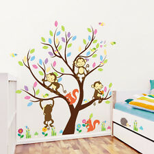 Cartoon Monkey Tree Wall Decal,Removable Home Wall Sticker Vinyl Decor Art Mural