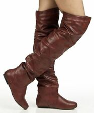 RF Room Of Fashion Trend-Hi Slouchy Low Heel Over-the-Knee Flat Boots WINEPU