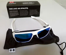 New Under Armour Recon Sunglasses Shiny White/Blue Mirrored