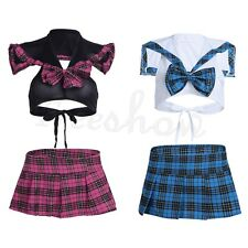 Women School Sexy Girl Cosplay Costume Lingerie Uniform Plaid Crop Top Skirt Set