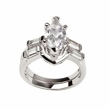 Nicole Marquise Baguette Bridal Engagement Wedding Ring Set Ginger Lyne Coll