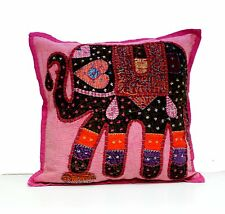 Elephant Applique Patchwork Handcrafted Indian Throw Pillow Cushion Covers 5 Pcs