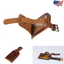 Genuine Leather Luggage Tag Travel Flight Name Tag ID Lable Overnight Duffle Bag
