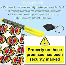 Permanent UV Marker Pen Security Kit✔Invisible Ink✔Flash Light✔Stickers✔Sign