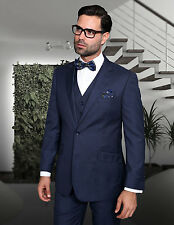 MENS 3 PC 2 BUTTON INDIGO 150S WOOL BUSINESS EVENING SUIT Modern Fit FLAT FRONT