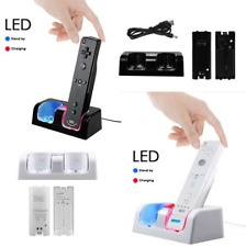 Dual Nintendo Wii Remote Charger Charging Station + 2 Recharge Battery Pack Dock