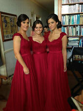Wine Red Lace Long Formal Evening Ball Gowns Cocktail Prom Bridesmaid Dress 6-18