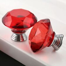 New Red Knobs 40mm Crystal Glass Cabinet Drawer Pull Handles + Screws + Gasket