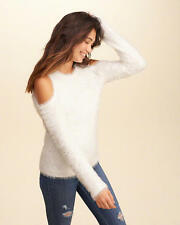 Abercrombie & Fitch – Hollister Sweater Womens Cold Shoulder Fluffy L White NWT