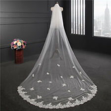 New 1T White/Ivory Cathedral Bridal Veil Lace Edge Wedding Veil With Comb 3 M
