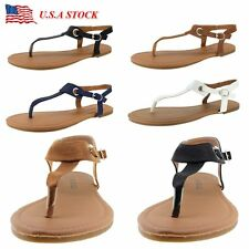 New Womens Gladiator Flat Sandals Flip Flops Shoes T Strap Thong Strappy Leather