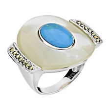 Sterling Silver Oval Mother of Pearl & Turquoise Ring
