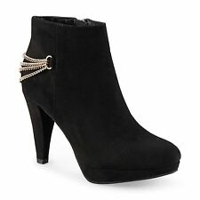 New Womens Covington Chain High Heel Platform Bootie Style 47627 Black 102y