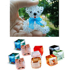 10Pcs Square Crystal 4mm/6mm Cube DIY Spacer Beads Glass Faceted Loose