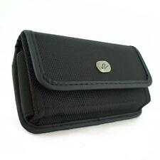 For T-MOBILE PHONES - BLACK RUGGED CANVAS SIDE CASE COVER POUCH BELT CLIP