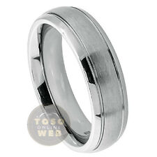 Ladies Titanium Grooved Side Wedding Band, 6mm Satin Finish Center, Comfort Fit