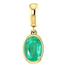 1.10 Cts Natural Emerald Oval Necklace, Emerald Oval Pendant, Genuine Emerald