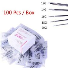 100pcs Body Piercing Sterile Needles for Navel Nose Ear 12,14,16,18,20G,Mix