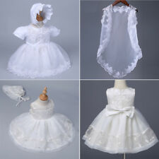 Baby Girl Toddler Satin Floral Embroidered Christening Baptism Dress Gown Outfit